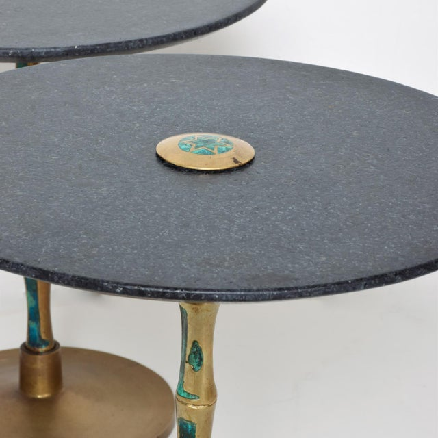 Metal Pepe Mendoza Mid-Century Mexican Modernist Bronze Malachite Black Side Tables - a Pair For Sale - Image 7 of 11