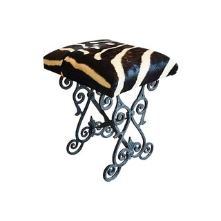 Zebra Hair-on-Hide & Iron Bench/Stool For Sale