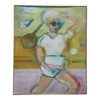 """""""Tennis Player"""" Contemporary Figurative Sport Oil Painting, Framed For Sale"""