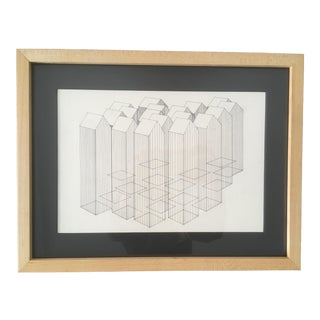 Vintage Mid-Century Modern Abstract Geometric Drawing For Sale