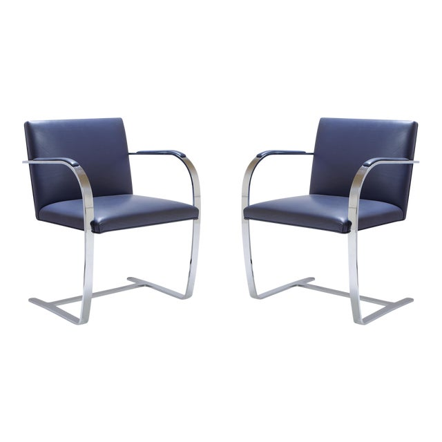 Mies Van Der Rohe for Knoll Brno Flat-Bar Chairs in Navy Leather, Pair - Image 1 of 11