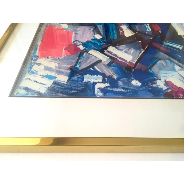 "Blue Hans Hofmann Vintage 1968 Mid Century Modern Abstract Expressionist Framed Collector's Lithograph Print "" Exuberance "" 1955 For Sale - Image 8 of 13"