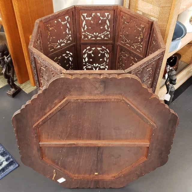 Circa 1900 Victorian Anglo-Indian Carved Padauk Wood/Brass Inlay Folding Octagonal Base Side Table For Sale - Image 4 of 6