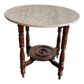 Antique Arts and Crafts Style Center Table With Travertine Round Top For Sale