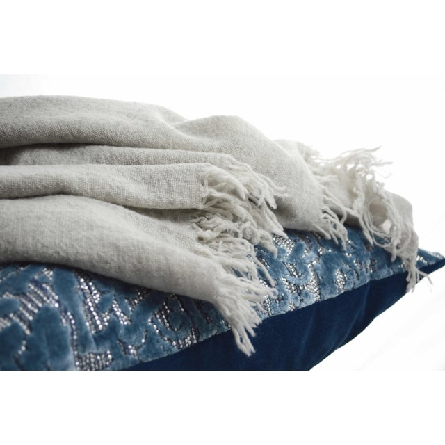 Contemporary FirmaMenta Italian Ice Gray Gauze Throw For Sale - Image 3 of 11