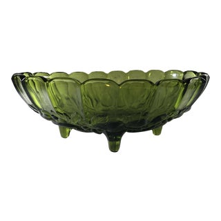 1960's Oval Green Glass Footed Fruit Bowl Vintage For Sale