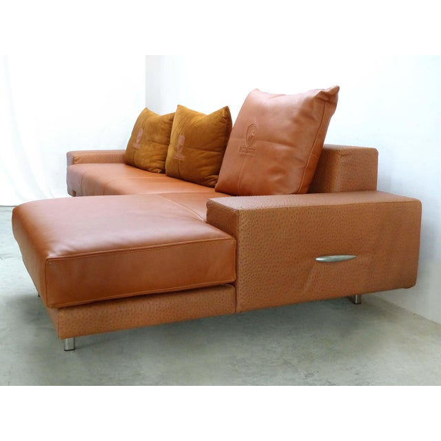 Casa Tonino Lamborghini Pilot Collection Sofa in Leather, Ostrich and Suede Offered for sale is a luxurious two-piece...