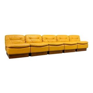 Mid-Century Yellow Leather Modular Sofaset by Dreipunkt, 1970s For Sale