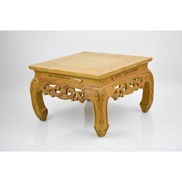 Carved, Stripped Wood Asian Low Tables - a Pair - Image 6 of 7