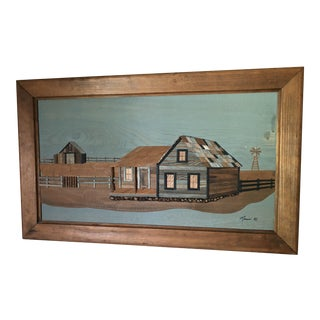 Vintage Mass Bros. Woodcraft Mosaic Barn Picture