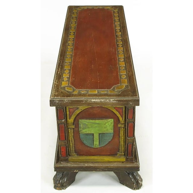 Artes De Mexico Spanish Revival Polychrome Wood Blanket Chest For Sale In Chicago - Image 6 of 8