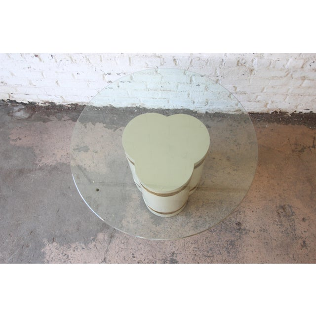 Bernhard Rohne for Mastercraft Acid Etched Brass Cream Lacquered Pedestal Dining Table For Sale In South Bend - Image 6 of 12