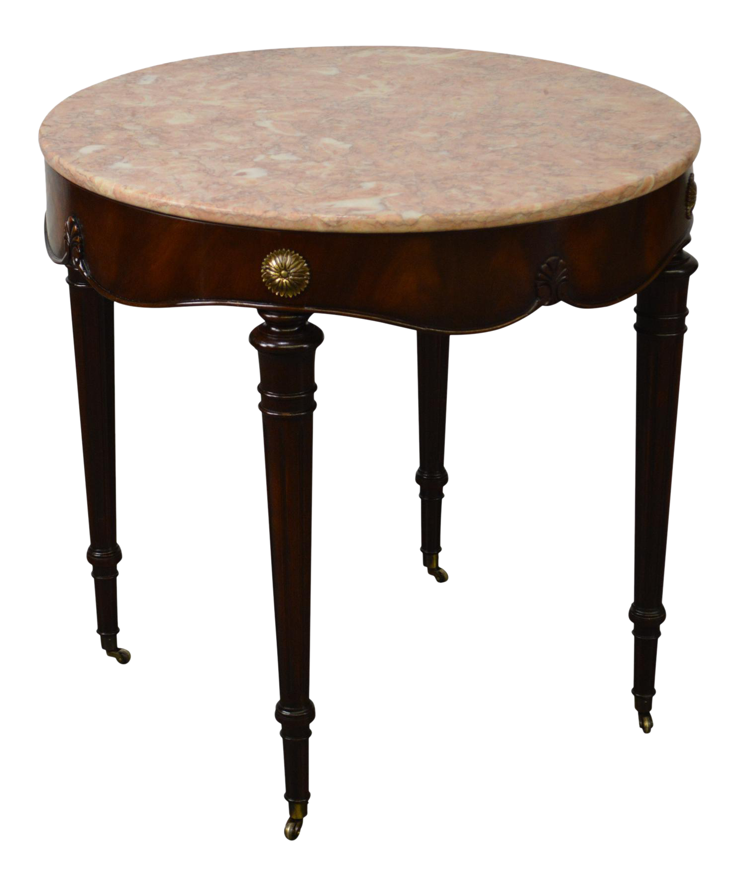 Genial Weiman 1950s Flame Mahogany Round Regency Style Marble Top Side Table