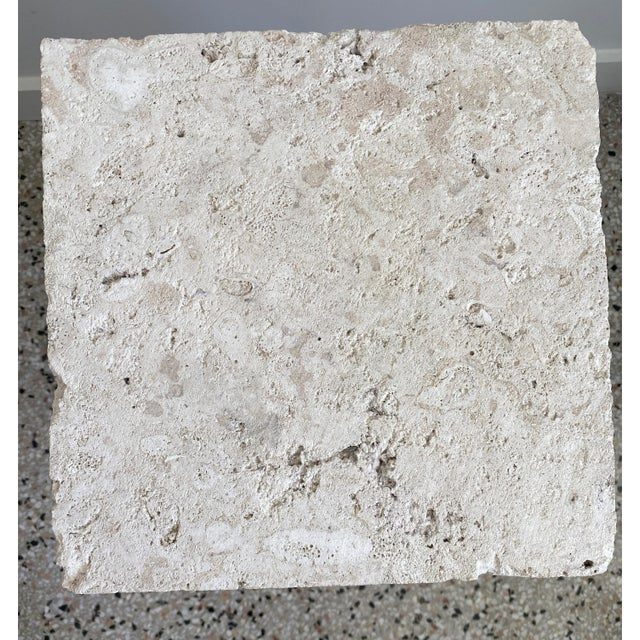 Mid-Century Modern Vintage Low Pedestal in Cream Color Natural Travertine Stone For Sale - Image 3 of 9