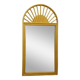 1960s Boho Chic Arched Faux Bamboo Sunburst Mirror For Sale