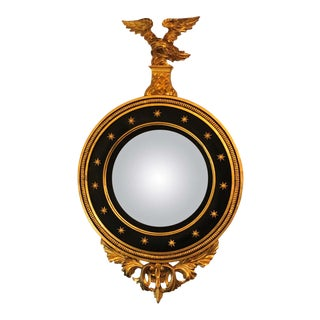Late 19th Century Regency Carved and Ebonized Giltwood Bullseye Convex Mirror For Sale