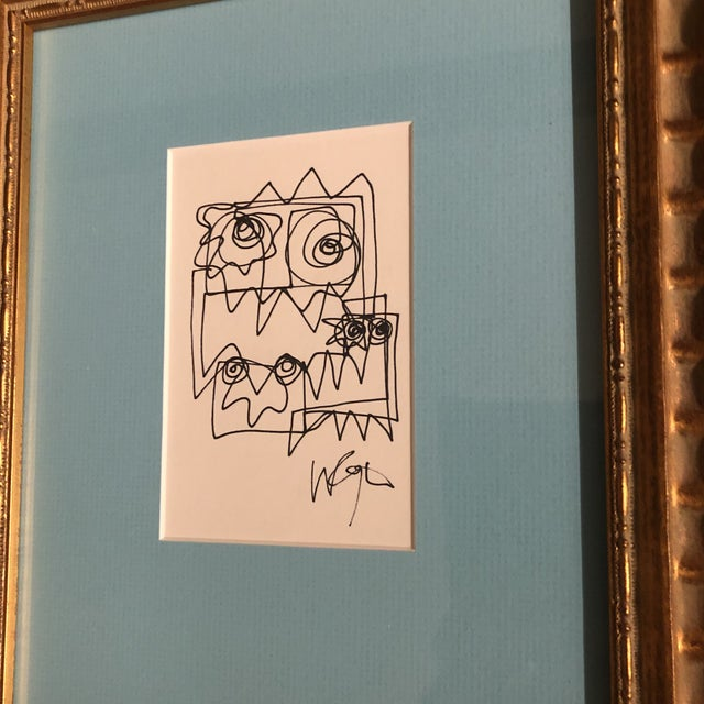 Abstract Gallery Wall Collection-2 Original Vintage Wayne Cunningham Ink Line Drawings Framed-Set of 2 For Sale - Image 3 of 5