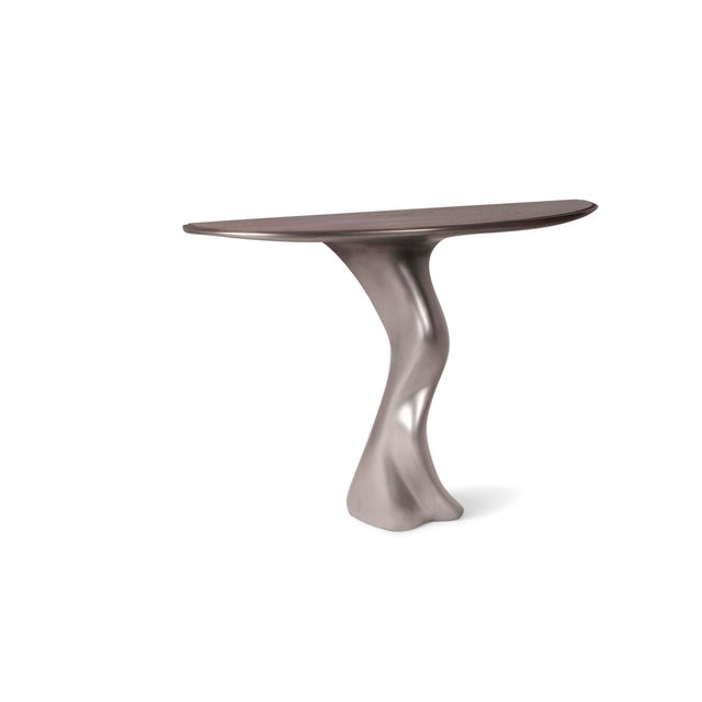 Amorph Haya Console -Stainless Steel With Antique Gray Walnut Top For Sale - Image 4 of 9