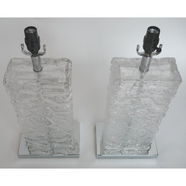 Modern ice cube glass table lamps a pair chairish modern ice cube glass table lamps a pair image 5 of 8 aloadofball Choice Image
