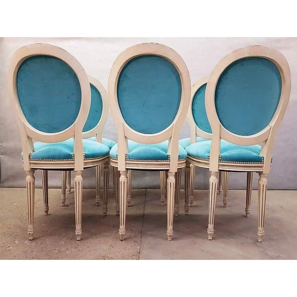 Blue Antique French Reupholstered Whitewashed Louis XVI Medallion Dining Chairs - Set of 6 For Sale - Image 8 of 13
