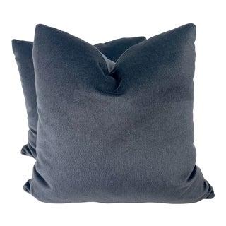 "Brunschwig & Fils ""Autun Mohair"" in Coal 22"" Pillows-A Pair For Sale"