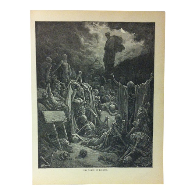 "Antique 1901 Gustave Dore Illustrated Print on Paper ""The Vision of Ezekiel"" For Sale"