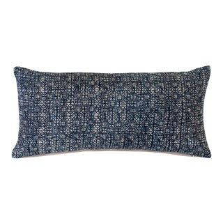 "Indigo Batik Lumbar Pillow Cover - 24""x12"" For Sale"