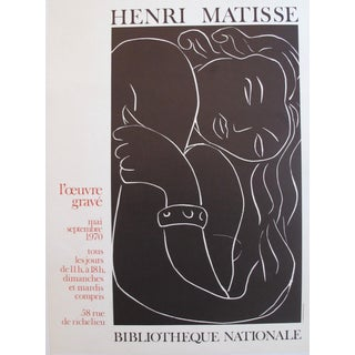 Vintage Henri Matisse Exhibition Poster, Black and White Nude For Sale