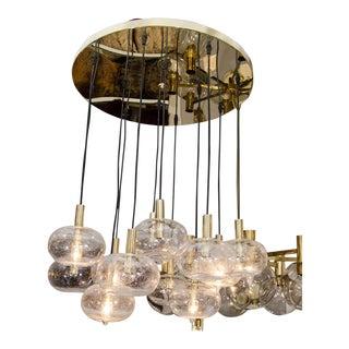 Custom Twelve-Globe Chandelier with Brass Canopy For Sale