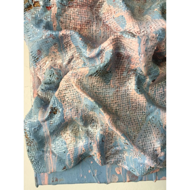 """Blue """"Sky Blue Burlap Drips"""" Mixed Media Wall Sculpture by Chloe Hedden For Sale - Image 8 of 13"""