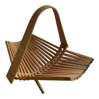 1960s Mid Century Folding Wooden Basket For Sale