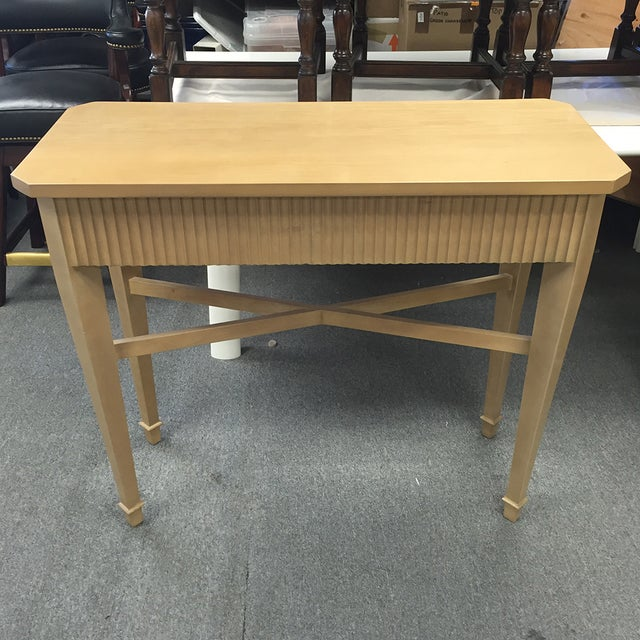 Nancy Corzine Tan Fluted Console Table - Image 2 of 11