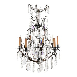 Antique 6 Lights French Bronze and Crystal Chandelier For Sale