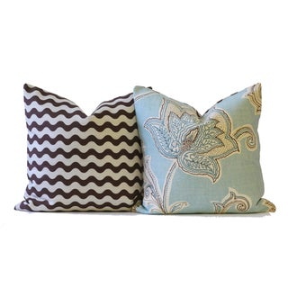 Blue and Brown Designer Down Pillow