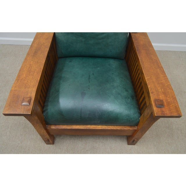 Brown Stickley Oak Mission Morris Chair W/ Ottoman For Sale - Image 8 of 13