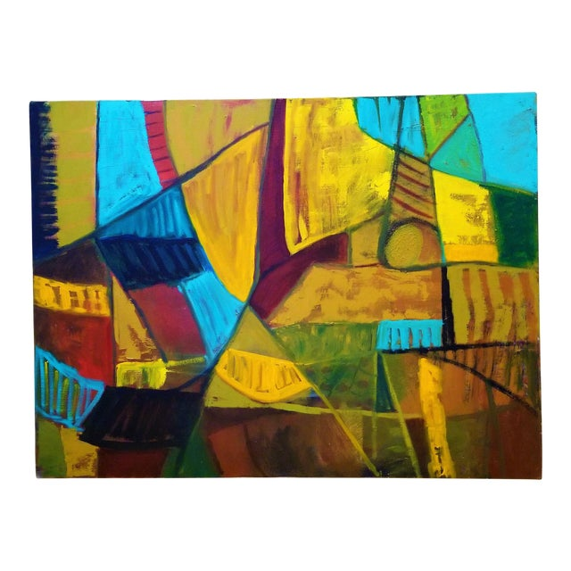 Mid-Century Modern Abstract Teal & Orange Painting For Sale