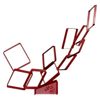Contemporary Red Metal Abstract Table Sculpture Signed Cynthia McKean, 1990s For Sale