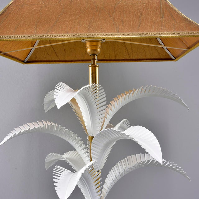 White 1970s Hollywood Regency Brass Lamp With Parchment Shade For Sale - Image 8 of 11