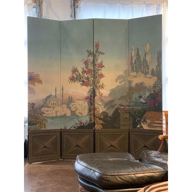 Vintage Maitland Smith Hand Painted 4 Panel Folding Screen For Sale - Image 11 of 13