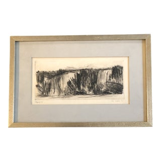 Original Mid Century Modern Abstract Etching by Ann Howell 1960 Original Frame For Sale