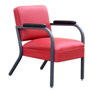 1950s Modern Steel and Deerskin Leather Armchair, Refinished For Sale