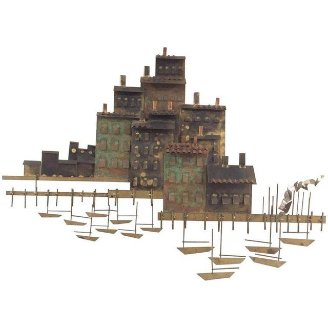 Gold Signed Curtis Jere Brutalist Wall Sculpture Village, Marina and Sailboats, 1970s For Sale - Image 8 of 8