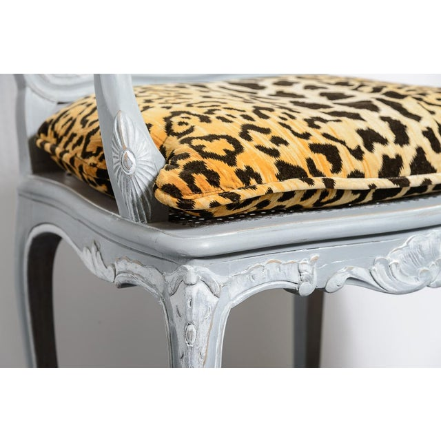 Caning French Painted Regence Style Caned Chairs With Leopard Velvet Print For Sale - Image 7 of 13