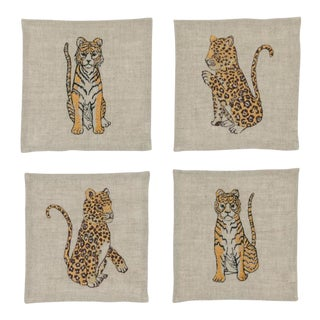 Jaguars and Tigers Cocktail Napkins - Set of 4 For Sale