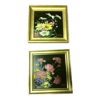 Mid-Century French Reverse Painted on Glass Florals - a Pair