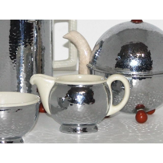 Metal 1920s Silver and Porcelain Tea Set of 4 For Sale - Image 7 of 8