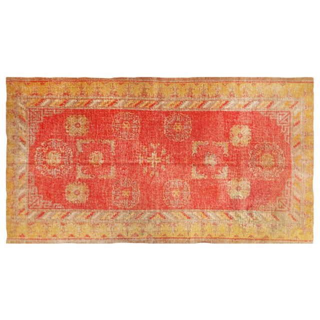 Antique Khotan Transitional Red and Yellow Wool Rug - 4′6″ × 8′4″ For Sale