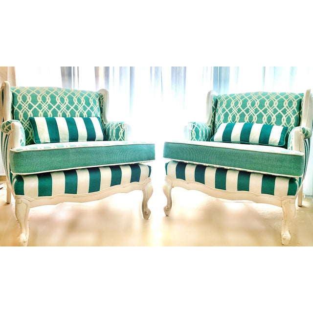 Hollywood Regency Cabana Striped Chairs - a Pair For Sale - Image 9 of 13