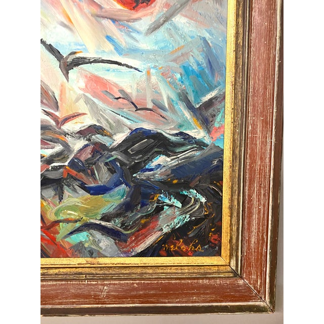 Large Vintage Oil on Canvas Signed Charles Melohs Seascape Nautical Scene Painting Framed For Sale In New York - Image 6 of 8
