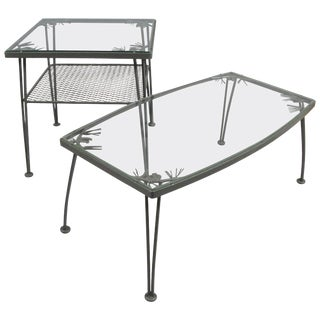 Pair of 1950s Wrought Iron 'Pinecrest' Tables by Woodard For Sale